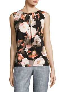 Calvin Klein Pleated Floral Shell