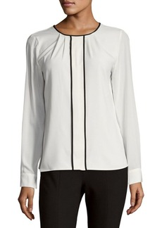 Calvin Klein Pleated Long Sleeve Blouse