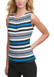 Calvin Klein Pleated-Neck Striped Top