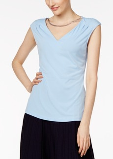 Calvin Klein Pleated Necklace Top