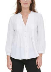 Calvin Klein Pleated-Placket Blouse