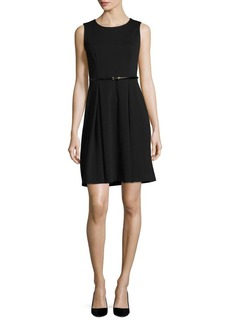 Calvin Klein Pleated Roundneck Dress
