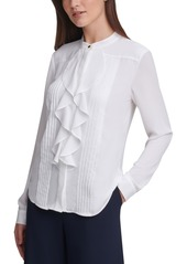 Calvin Klein Pleated Ruffled Blouse