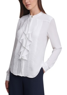 Calvin Klein Pleated Ruffled Blouse, Regular & Petite Sizes