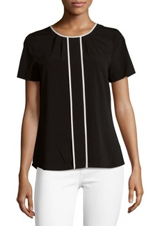 Calvin Klein Pleated Short Sleeve Blouse