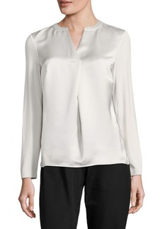 Calvin Klein Pleated Split Neck Blouse