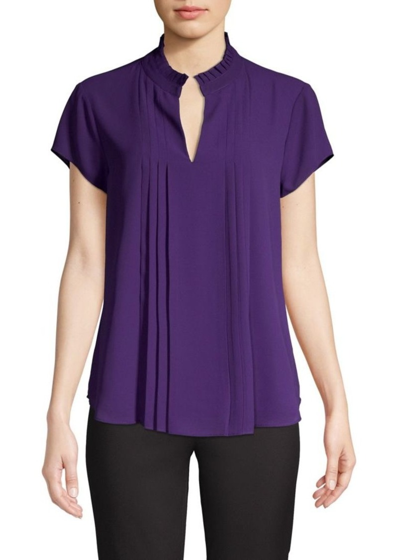 Calvin Klein Pleated Split Neck Top
