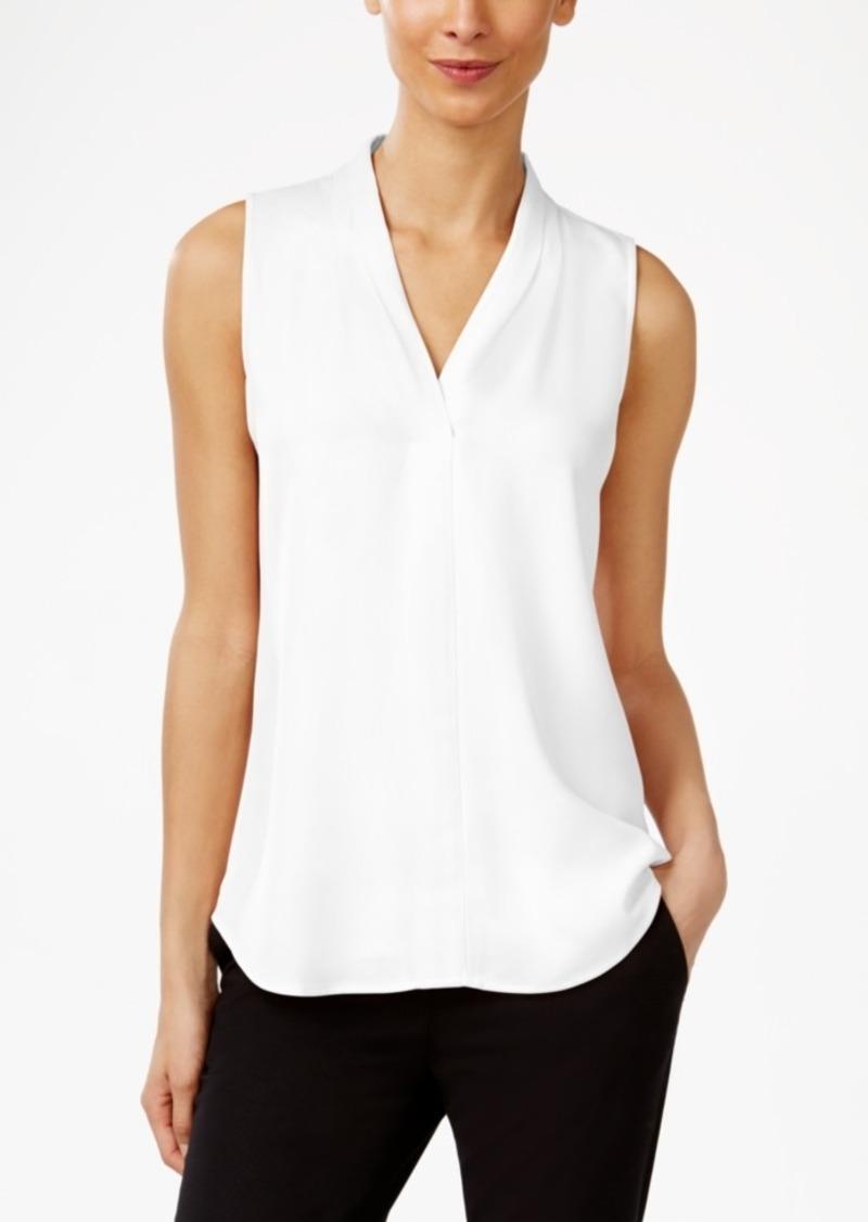 Calvin Klein Pleated V-Neck Shell