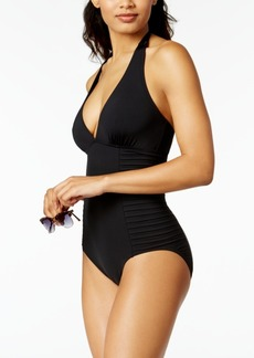 Calvin Klein Plunge Halter One-Piece Swimsuit Women's Swimsuit