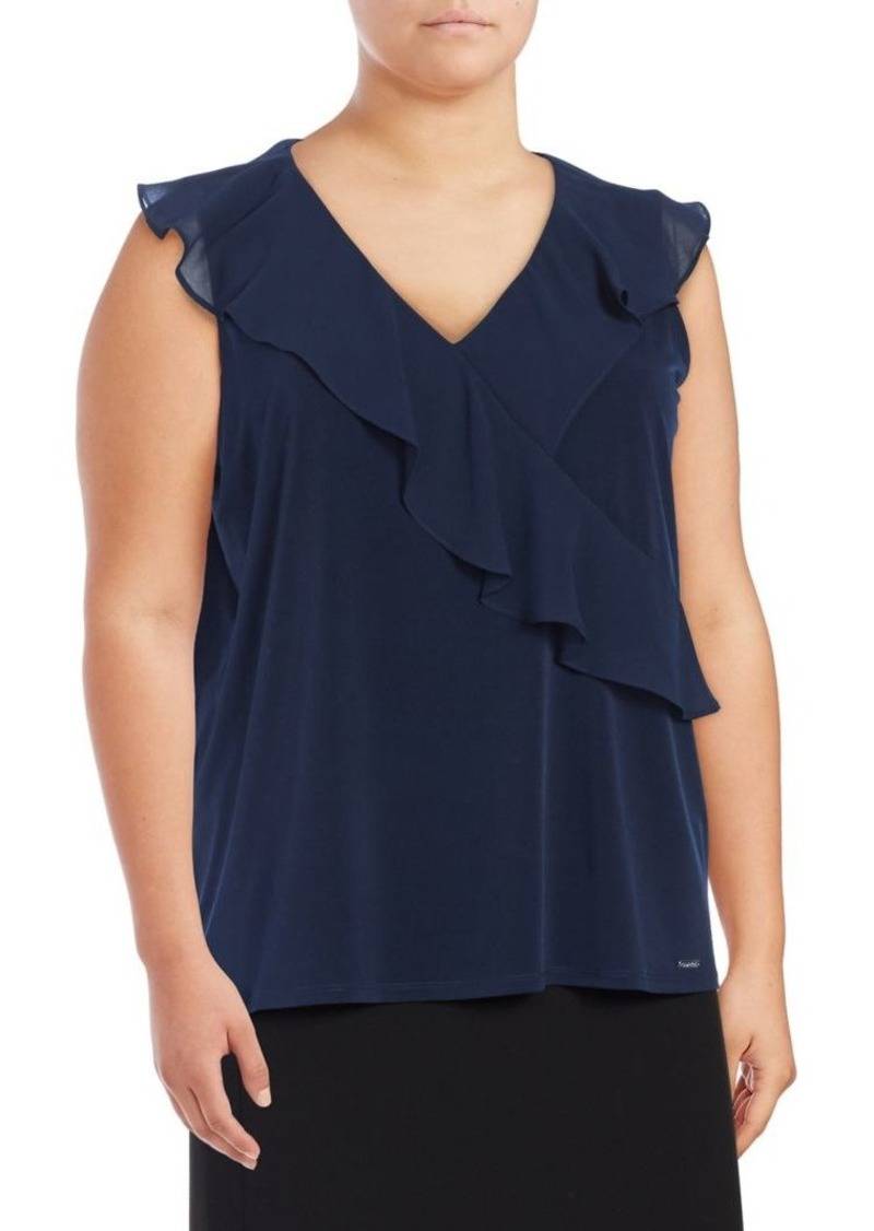 8a2c8bd69e16e Calvin Klein Calvin Klein Plus Asymmetrical Ruffle Blouse