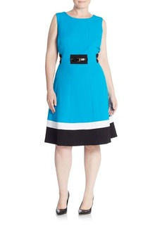 Calvin Klein Plus Belted Colorblock Dress
