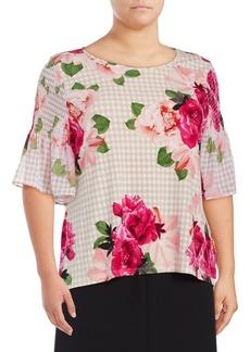 Calvin Klein Plus Checkered Floral Bell-Sleeve Top