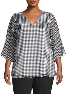 Calvin Klein Plus Checkered V-Neck Top