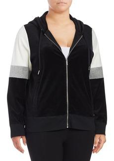 Calvin Klein Plus Colorblock Hooded Zip-Front Jacket
