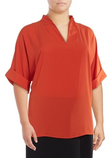 Calvin Klein Plus Cuffed V-Neck Blouse