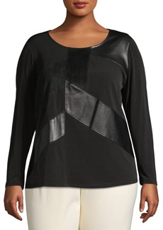 Calvin Klein Plus Faux-Leather Long-Sleeve Top