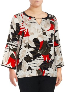 Calvin Klein Plus Floral Bell Sleeve Blouse