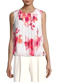Calvin Klein Plus Floral Pleated Blouse