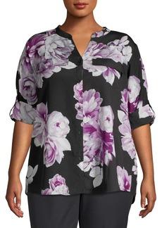 Calvin Klein Plus Floral Printed Chiffon Blouse