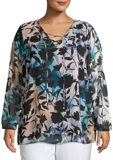 Calvin Klein Plus Lace-Up Printed Blouse