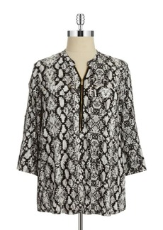 Calvin Klein Plus Plus Patterned Zip Accented Blouse