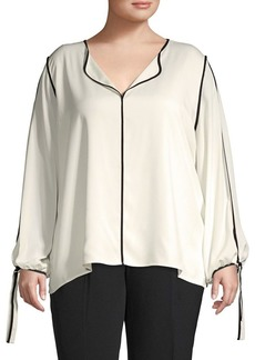 Calvin Klein Piped Long Sleeve Blouse