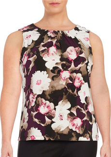 CALVIN KLEIN Plus Pleated Floral Blouse