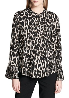 Calvin Klein Plus Pleated Leopard Print Blouse