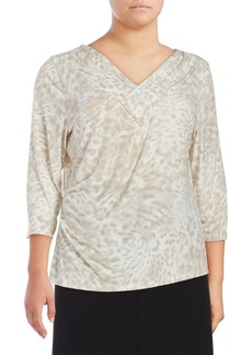 Calvin Klein Plus Pleated Printed Blouse