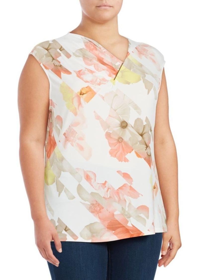 53b1175c358721 SALE! Calvin Klein Calvin Klein Plus Pleated V-Neck Shell