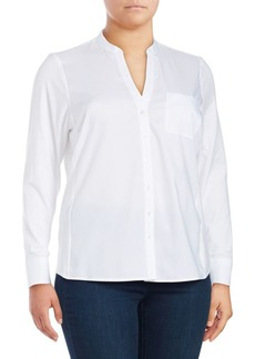 Calvin Klein Plus Birch Button-Front Blouse