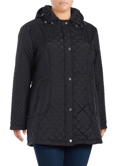 Calvin Klein Plus Hooded Quilted Coat