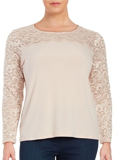 CALVIN KLEIN PLUS Plus Lace Accent Blouse