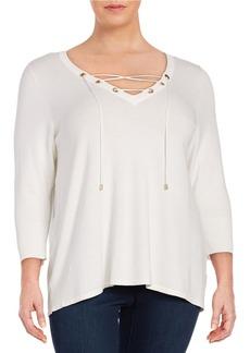 CALVIN KLEIN PLUS Plus Lace-Up Sweater