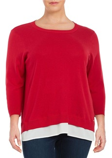 CALVIN KLEIN PLUS Plus Lightweight Mock-Layered Sweater