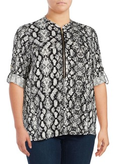 Calvin Klein Plus Patterned Zip Accented Blouse
