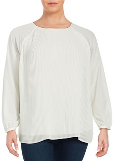 CALVIN KLEIN PLUS Plus Pleated Crepe Blouse
