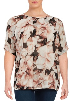 CALVIN KLEIN PLUS Plus Pleated Floral Blouse