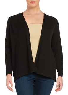 CALVIN KLEIN PLUS Plus Pleated Open-Front Cardigan