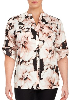 CALVIN KLEIN PLUS Plus Printed Button-Front Blouse