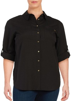 CALVIN KLEIN PLUS Plus Roll-Tab Blouse