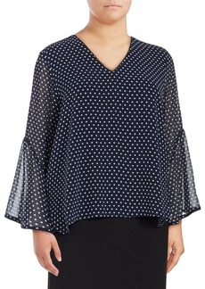 Calvin Klein Plus Printed Bell-Sleeve Blouse