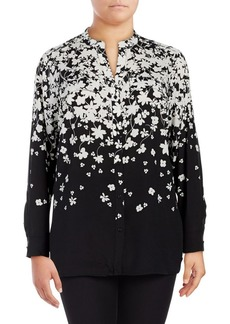 Calvin Klein Plus Printed Button-Front Blouse