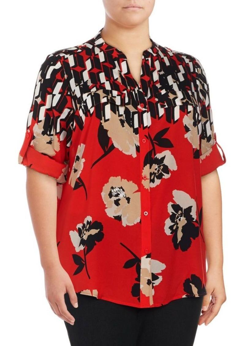 Calvin Klein Plus Printed Roll Sleeve Blouse
