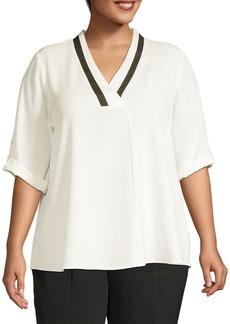 Calvin Klein Plus Roll Sleeve Blouse