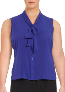 CALVIN KLEIN Plus Self-Tie Button-Down Blouse