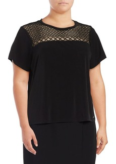 Calvin Klein Plus Short-Sleeve Eyelet Blouse