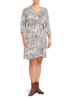 Calvin Klein Plus Animalia Print Three-Quarter Sleeve Dress