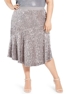 Calvin Klein Plus Size Asymmetric Sequin Skirt