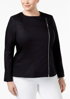 Calvin Klein Plus Size Asymmetrical-Zip Blazer